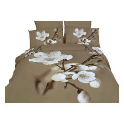 Dolce Mela - 6 Piece 100% Cotton Duvet Cover Set by Dolce Mela - Delicato DM420Q & DM420K, Ki - Decorate with vogue and perk up your bedroom's decor with this amazing bedding design featuring vivid prints of almond flowers in a 3D illustration.