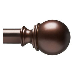 "Umbra - Verge Drapery Rod, 120-170"" by Umbra - Telescoping rod in an auburn bronze finish, two molded decorative finials, and complete mounting hardware. Designed to fit a range of window sizes, the rod extends from 120-Inch to 170-Inch long using an auxiliary rod that fits inside the main rod for added length and support."