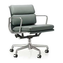 Herman Miller - Eames Soft Pad Management Chair - A distinctive profile, a taut seat sling and soft, thick cushions: in concert, they yield the Eames Soft Pad Chair (1969). Able to be used in a variety of home, lobby and office settings, the chair evolved from the Eames Aluminum Group – furniture originally developed for a private residence designed by Eero Saarinen and Alexander Girard. With the addition of two-inch-thick seat cushions, the Soft Pad Chair retains the style of the earlier group, but gains significant comfort. This original is an authentic, fully licensed product of Herman Miller®, Inc. Eames is a licensed trademark of Herman Miller.  Available in numerous upholsteries, including Spinneybeck® Vicenza leather – a high-quality, Greenguard-certified leather with a breathable finish that protects against UV rays and spills.  Made in U.S.A.