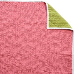 Serena & Lily - Melon/Lime Cabin Quilt - The best of the basics, this is the perfect warm-weather layer. The colors are great and the running contrast stitch gives it just the right amount of texture. Melon on one side, lime on the reverse, with white binding and contrast stitch in lilac.