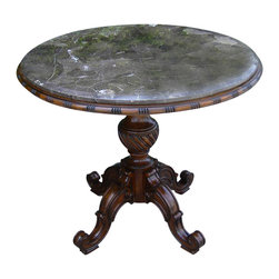 Ambella Home - Lindley Accent Table - The classics live on!  This lovely accent table has a dark marble top and ornately carved wood legs and would look elegant beside your favorite armchair. Its generous 34-inch top has plenty of room for a lamp, your book and a favorite beverage.