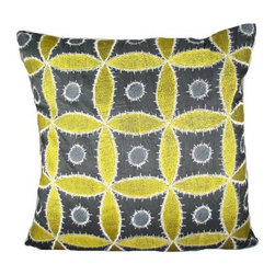 Design Accents Ethnic Flora Pillow - Black / Green - Add a shock to the system with the bold and graphic Design Accents Ethnic Flora Pillow - Black / Green. Made of quality cotton, this modern square pillow has an ethnic appeal. The hand-embroidered and ultra stylized floral shake the notion of traditional design to the core. Pretty up any space with this beauty.