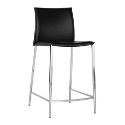 Wholesale Interiors - Baxton Studio Leather Counter Stool - Set of 2 - This stool will give you great support for eating and having fun. Durable bonded leather upholstery for longer lasting use and stain resists for easy clean up. Chair constructed with sturdy steel frame lightly padded with high density foam for added comfort. This stool will make your room into the fun and exciting place that you need and want. If you are looking for a classic stool with clean lines and design, then you will want to consider this quality stool.