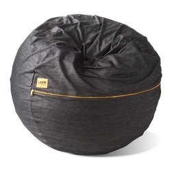 Jaxx Bean Bags - Jaxx 3 ft Classic Saxx Denim Bean Bag Chair - The 3 ft Classic Saxx is a bean bag built for one that does not sacrifice any of the inherent qualities of its huge bean bag brothers. You can relax in this low-slung bucket of luxury and keep all the coziness for yourself. You still get all the back support of our larger bags in a size that is ideal for smaller rooms. This bag makes a statement without screaming, and the sophisticated colors can fit into any living space. Gone are the days of leaking foam pellets and sweaty backs. We stuff our Saxx with ECOFOAM and cover it in the finest, most breathable materials, making it far and away the alpha dog when it comes to bean bags.