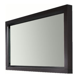 "Due 55"" LED touch light mirror. Espresso. - Due Led mirror W: 55"" x H: 35-3/8"". Wenge."