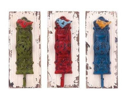 """BZBZ55454 - Wall Hook Assorted with Vibrant Colors - Set of 3 - Wall Hook Assorted with Vibrant Colors - Set of 3. A perfect combination and elegance and functionality , this wood metal wall hook 3 Assorted 4""""W, 1 is sure to lend a dash of vibrancy and style. It comes with a following dimensions 4""""W x 3""""D x 10""""H, 4""""W x 3""""D x 10""""H, 4""""W x 3""""D x 10""""H."""