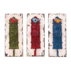 "Benzara - Wall Hook Assorted with Vibrant Colors - Set of 3 - Wall Hook Assorted with Vibrant Colors - Set of 3. A perfect combination and elegance and functionality , this wood metal wall hook 3 Assorted 4""W, 1 is sure to lend a dash of vibrancy and style. It comes with a following dimensions 4""W x 3""D x 10""H, 4""W x 3""D x 10""H, 4""W x 3""D x 10""H."