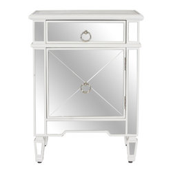 Worlds Away - Worlds Away Mirrored with White Lacquer Edge Nightstand CLAUDETTE WH - Mirrored nightstand with white lacquer edge and crosshatch detailing.