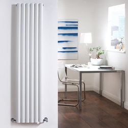 Hudson Reed - Luxury White Tall Vertical Designer Radiator Heater 63 x 14 & Valves - With an impressive heat output of 1,664 Watts (5,680 BTUs), this designer radiator, in a fashionable white powder coat finish (RAL9016), is stylish and highly efficient, ensuring that your room is heated quickly.With twelve oval bars, arranged in six double columns, bringing a touch of style to any living space, this modern classic connects directly into your domestic central heating system via the angled radiator valves included. This radiator comes complete with a 5 YEAR GUARANTEE.Luxury Double White Vertical Designer Radiator 63 x 14 Details  Dimensions: (H x W x D) 63 x 14 x 4 (1600mm x 354mm x 78mm) Output: 1,664 Watts (5,680 BTUs) Pipe centres with valves: 17 (430mm) Depth when fitted: 4.3 (110mm) Wall to centre of tapping: 2.5 Number of columns: 6 Oval crossbars Designed to be plumbed into your central heating system Suitable for bathroom, cloakroom, kitchen etc. Please note: angled radiator valves are included  Buy now, to transform your living space, at an affordable price.5 year guarantee Please Note: Our radiators are designed for forced circulation closed loop systems only. They are not compatible with open loop, gravity hot water or steam systems.