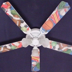 Ceiling Fan Designers General Sports Indoor Ceiling Fan - Just right in the game room or your teen's bedroom, the Ceiling Fan Designers General Sports Indoor Ceiling Fan is fun, plain and simple. A colorful and well-made ceiling fan, this one highlights all sports and will cool down and light up the room in style. It comes in your choice of size: 42-inch with 4 blades or 52-inch with 5. The blades are reversible so you get the sports design on one side and white on the other. It has a powerful yet quiet 120-volt, 3-speed motor with easy switch for year-round comfort. The 42-inch fan includes a schoolhouse-style white glass shade and requires one 60-watt candelabra bulb (not included). The 52-inch fan has three alabaster glass shades and requires three 60-watt candelabra bulbs (included). Your ceiling fan includes a 15- to 30-year manufacturer's warranty (based on size). Game on!