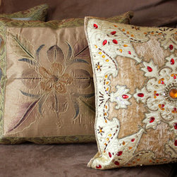 Fun Decorative Pillow Combinations - Gorgeous trio of pillow covers from Banarsi Designs.