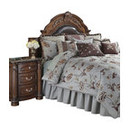 AICO Furniture - Enchantment Queen 12-piece Comforter Set - Embroidered Floral Motif. Light Blue/Dark Brown Color Scheme. 1 Comforter, 2 Euro Shams, 2 Standard Pillow Shams, 1 Bedskirt (3 Pieces), 6 Decorative Accent Pillows