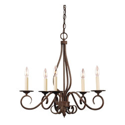 Karyl Pierce Paxton - Karyl Pierce Paxton KP-95-5-91 Bryce Transitional 5-Light Chandelier - The Bryce collection delights in a Sunset Bronze finish with detailed iron leaf ornamentation on the wall sconces. The soft curls create that clean, classic look you are looking for your home.