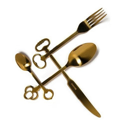 "Seletti ""Keytlery"" Cutlery Gold Set - 24 Pieces - Whether it is a fabulous dinner party or everyday dinning, this unusually stunning ""Keytlery"" cutlery set will add a unique design to your table."