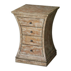 Uttermost - Uttermost Avarona Rustic Accent Chest 24214 - Almond stained, distressed birch veneer with antiqued, ivory crackle paint finish. French Dovetail drawers are accented by old iron finished metal pulls.
