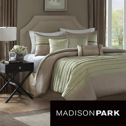 """Madison Park - Madison Park Hayes 7-piece Comforter Set - Hayes is the perfect addition to any bedroom in your home. The neutral colors go well with all your dcor, and the piecing and pin tucking details on the bed add a touch of design to this beautiful bed. Features: -Available in Queen, King or California King sizes. -Set includes an oversized and over-filled comforter, two shams, a bed skirt and three accent pillows (18""""x18"""" square, 16""""x16"""" square and 12""""x20"""" oblong). -Material: 100% Polyester. -Color: Beige. -Piecing and pin tucking details on the bed add a touch of design to this beautiful bed. -Dimensions: 90""""-104"""" Height x 90""""-92"""" Width."""