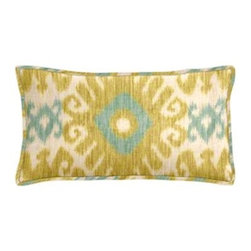 """Cushion Source - Florence Lemon Zest Ikat Lumbar Pillow - The 20"""" x 12"""" Florence Lemon Zest Ikat Lumbar Pillow features a globally-inspired diamond ikat pattern in lemon yellow and pale turquoise on a natural background."""