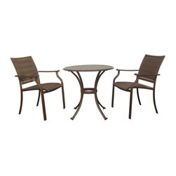 Hospitality Rattan - Panama Jack Island Cove Woven Slatted Dining Bistro Set Multicolor - PJO-8001-ES - Shop for Tables and Chairs Sets from Hayneedle.com! Sometimes all you need to relax is a few free minutes a good book a cool drink and comfy place to sit in the Panama Jack Island Cove Woven Slatted Dining Bistro Set and you can feel the tension drifting away. You'll have no trouble sinking into the roomy seats with their curved arms and seat and back of woven Viro fabric. Viro fibers are a synthetic material that is designed to offer durable comfort while refusing to rot crack or fade when exposed to the elements. Each piece is crafted from extruded aluminum with a powder-coat finish that won't rust or corrode outdoors. The table also has a subtle slat top that helps reduce weight and make it easier to clean.About Hospitality RattanHospitality Rattan has been a leading manufacturer and distributor of contract quality rattan wicker and bamboo furnishings since 2000. The company's product lines have become dominant in the Casual Rattan Wicker and Outdoor Markets because of their quality construction variety and attractive design. Designed for buyers who appreciate upscale furniture with a tropical feel Hospitality Rattan offers a range of indoor and outdoor collections featuring all-aluminum frames woven with Viro or Rehau synthetic wicker fiber that will not fade or crack when subjected to the elements. Hospitality Rattan furniture is manufactured to hospitality specifications and quality standards which exceed the standards for residential use.Hospitality Rattan's Environmental Commitment Hospitality Rattan is continually looking for ways to limit their impact on the environment and is always trying to use the most environmentally friendly manufacturing techniques and materials possible. The company manufactures the highest quality furniture following sound and responsible environmental policies with minimal impact on natural resources. Hospitality Rattan is also