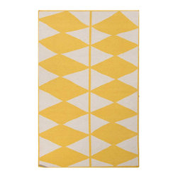 "Geometric Flat-Weave Rug in Daffodil - Designed by a New York raised painter and surface designer, this 100% wool flat-weave rug is a refined addition to your sophisticated living room, dining room, or bedroom, and are based on a collection of her geometric paintings that are said to capture an ""organic and moody, yet optimistic spirit."" Originating in India, this rug is durable, reversible, and certified for easy care, and will last you far into the future."
