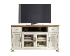 Hooker Furniture - Entertainment Console 68in - Here's a way to make all that electronic equipment look Shabby Chic. An adorable twist on modern entertainment consoles, this one has a Provençal, rustic appeal and traditional styling.