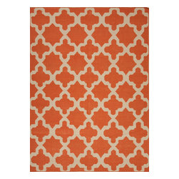 Jaipur Rugs - Flat Weave Geometric Pattern Red /Orange Wool Handmade Rug - MR47, 2x3 - An array of simple flat weave designs in 100% wool - from simple modern geometrics to stripes and Ikats. Colors look modern and fresh and very contemporary.