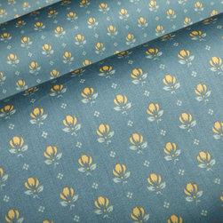 Petite Fleur Porcelain Fabric - Petite Fleur Porcelain Blue Floral Cotton Fabric. Delicate flowers grace this bedding pillows and drapery fabric.  Quality 100% Cotton at a great price.