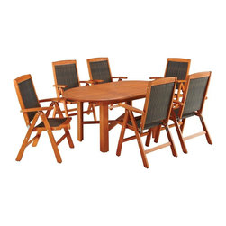 HomeStyles - Bali Hai 7PC Outdoor Dining Set - Eco-friendly, plantation grown Shorea wood. Hidden butterfly leaf. 7-position adjustable chair back. Stainless steel hardware. Table Dimensions: 51.5 in. W X  43.5 in. D X  29.75 in. H. Chair Dimensions: 25 in. W X  24.75 in. D X  42.5 in. HCreate an island oasis on your porch or patio with a Home Styles Bali Hai Outdoor 7PC Dining Set. Showcasing an island inspired design in a versatile eucalyptus finish and constructed of eco-friendly, plantation grown shorea wood which is known for its exceptional durability and natural resistance to water.  This set is designed to provide endless hours of outdoor entertainment use.  Features include hidden butterfly leaf that can be stored under table when not in use, a 2-inch umbrella opening to accommodate a standard sized umbrella, and chairs have a 7-position adjustable back. Chairs are foldable for easy storage. Set includes oval dining table and six dining chairs. Table Size: 51.5w 43.5d 29.75h. Chair Size: 25w 24.75d 42.5h, each.