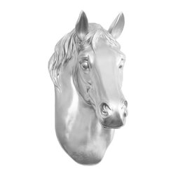 Wall Charmers - Wall Charmers Horse in Silver | Faux Taxidermy Resin Fake Animal Head Replica - WALL CHARMERS FAUX TAXIDERMY HORSE HEAD