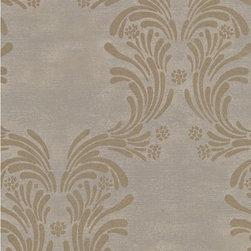 Wallpaper Worldwide - Caesar - Damask Wallpaper, Gold, Grey - Material: Non-woven. Velvet