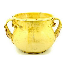 Artistica - Hand Made in Italy - Scavo Dori: Cachepot with Two Handles (Lg), Yellow Gold, 12 X 10'' High - Scavo Dori: