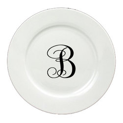 Caroline's Treasures - Letter B Initial Monogram Script Ceramic White Dinner Plate CJ1057-B-DPW-11 - Letter B Initial Monogram Script Ceramic White Dinner Plate CJ1057-B-DPW-11 Heavy Round Ceramic Plate White with Artwork . 11 inches in diameter. LEAD FREE, dishwasher and microwave safe. The plate has been refired over 1600 degrees and the artwork will not fade or crack.
