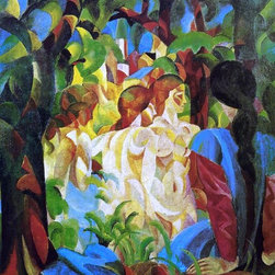 """August Macke Girls Bathing with Town in Background - 18"""" x 24"""" Premium Archival - 18"""" x 24"""" August Macke Girls Bathing with Town in Background premium archival print reproduced to meet museum quality standards. Our museum quality archival prints are produced using high-precision print technology for a more accurate reproduction printed on high quality, heavyweight matte presentation paper with fade-resistant, archival inks. Our progressive business model allows us to offer works of art to you at the best wholesale pricing, significantly less than art gallery prices, affordable to all. This line of artwork is produced with extra white border space (if you choose to have it framed, for your framer to work with to frame properly or utilize a larger mat and/or frame).  We present a comprehensive collection of exceptional art reproductions byAugust Macke."""
