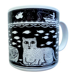 Taylor and Ng - Primitives Cat/Fish Mug - Taylor & Ng - Lion in a Black design on a White 11 oz Ceramic mug. Dishwasher, microwave safe. Cat and fish mug. Primitive Mugs collection. Stackable for easy storage. 3.25 in. L x 3.25 in. W x 3.5 in. H