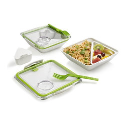 Box Appetit, Lime - This can be one big bowl or two smaller compartments. Plus, I love that the fork comes with it!