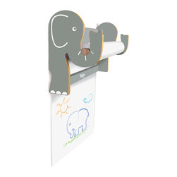 P'Kolino - P'kolino - Elephant Wall Easel - The Pkolino - Elephant Wall Easel uses colorful animal silhouettes to create a playful yet sophisticated design. Suitable for playrooms and bedrooms. Materials Fiber Board with Wood Veneer. Dimensions 19 in. 48.3 cm L x 6 in. 15.2 cm W x 9 in. 22.9 cm H. Weight 3 lbs.