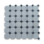"""Stone Center Corp - Carrara Marble Octagon Mosaic Tile 2 inch Honed - Carrara white marble 2"""" octagon pieces mounted on 12"""" x 12"""" sturdy mesh tile sheet"""