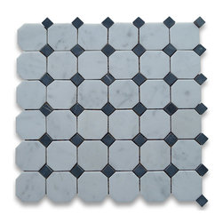 "Stone Center Corp - Carrara Marble Octagon Mosaic Tile 2 inch Honed - Carrara white marble 2"" octagon pieces mounted on 12"" x 12"" sturdy mesh tile sheet"