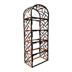 Pre-owned Vintage Chippendale Style Rattan Etagere - A vintage Chippendale style rattan etagere. What a great piece for displaying all of your favorite decorative items, books, or dishes! The etagere includes glass shelves giving the piece a light and airy feel in your space.    Two matching etageres are available. This listing is for one. If you are interested in a pair, please contact support@chairish.com.
