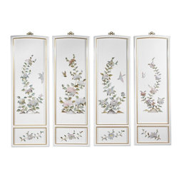 Oriental Furniture - Birds and Flowers Wall Plaques - Add a touch of the East to your home decor with these exquisite wall plaques.  Each set is individually crafted by an artisan in Guangdong and features a unique floral design made from hand-carved mother of pearl. Finished with a rich lacquer, this art set will bring a sophisticated Oriental accent to your home.