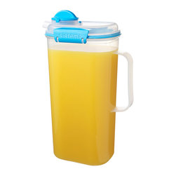 Sistema - Blue 67-Oz. Juice Jug - This juice jug features easy-open locking clips with rubberized seals that ensure drinks stay fresh. BPA- and lead-free, it keeps beverages safe and delicious.   6.7'' W x 10.8'' H x 4.3'' D Holds 67 oz. Virgin polypropylene BPA-free Freezer-, microwave- and dishwasher-safe Made in New Zealand
