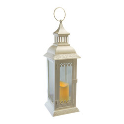 LumaBase Luminarias - Metal Lantern with Flickering LED Candle - White Leaf Detail - This metal lantern brings a beautiful source of ambient light to your home or special event. With a battery operated LED candle, this lantern is safe to use indoors or outdoors. It is a versatile decor piece perfect for parties, holidays or any occasion. Perfect for pathways, seating areas, centerpieces and much more.