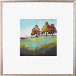 """Art Virtuoso - Ambler Art Turning Leaves P9897B-05646 - This fine art giclee print was taken from original artwork by artist Christina Long. Featuring simple landscapes of trees on the horizon done in vibrant textured shades each piece is signed and numbered by the artist as part of a limited edition. 25 1/8"""" H x 24 3/4"""" W Matted with 5"""" crisp white mat. Framed using moulding 5001 1"""" rounded panel with outer bevel profile and antique silver finish."""