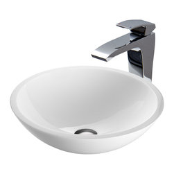 VIGO Industries - VIGO Flat Edged White Phoenix Stone Glass Vessel Sink and Blackstonian Faucet Se - The VIGO Flat Edged White Phoenix Stone glass vessel sink and Blackstonian faucet set in Chrome is a clean and modern addition to the bathroom.