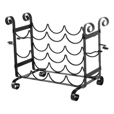 """Concept Housewares - Solid Metal Wine Bottle and Glass Counter Rack - Dimensions: 21""""W x 12""""D x 15""""H inches"""