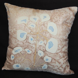 Hand painted silk pillow sham. - This abstract white and blue flower with brown with pink shade color salt effect on the background.