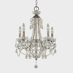 """Frontgate - Grace Mini Chandelier - Five-light chandelier elegantly finishes moderately sized spaces. Uses 60-watt max candelabra bulbs. 72"""" chain length. Adjustable height. Crown a bed or bath with a cascade of elegance. The distressed silver finish and glass accents of our Grace Mini Chandelier provide a cool companion for layers of crystal strands and teardrop pendants.  .  .  .  ."""