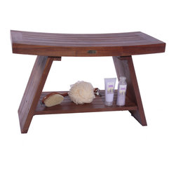 """Deco Teak - Asia 24"""" Teak Serenity Shower and Outdoor Bench With Shelf - The Deco Teak larger solid teak Asia Serenity Shower Bench with shelf provides the feeling of Asia to your shower, bathroom, living room, or patio. The included shelf gives added versatility for storage of toiletries, books, or other essentials. This larger bench truly makes a design and fashion statement wherever you put it. For larger walk-in roman style showers it because the beautiful center point and focus of your bathroom. This is large piece, but it does not overpower its surroundings. The gentle slope and large underneath shelf gives this bench the ability to be used in your hallway, outdoors, as an end table, or as a sofa table. It has dimensions of 29"""" long, and 13"""" wide, with a comfortable height of 18"""". The sides gently slope upwards giving its classic Eastern flair. It has been styled on classic Zen design themes that provide calm, tranquility, and elegance to your setting. For use in the shower, or outdoors, teak is naturally water resistant and resistant to molds. Our proprietary deep penetrating stain provides additional mold, mildew, and fungus inhibitors as well as increased longevity for use outdoors. Some assembly is required. Asian style, grace, and elegance; Handy storage shelf included; Indoor outdoor deep penetrating stain for water, mold, mildew, fungus, and sunlight resistance; Dimensions: 29"""" L x 13"""" W x 18"""" H"""