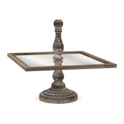 "IMAX - Glover Square Cake Stand - The Glover cake stand has a square surface surrounding a turned wood finial and base. A great tray for petit fours or hors d'oeuvres. Item Dimensions: (14.75""h x 16""w x 16"")"