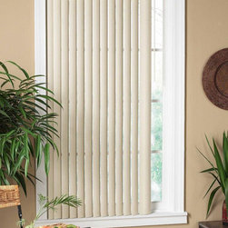 None - Vertical Alabaster Window Blind - Add privacy and shade to any room with these handy vertical window blinds. You can get them in different widths to fit multiple sizes of window,and they come in a soft color that's subtle enough to fit into multiple color schemes or decors.