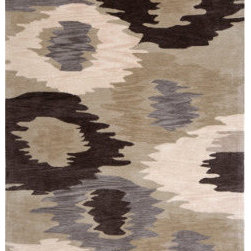 Grandin Road - Gray Puddle Jumper Indoor Area Rug - 2' x 3' - Beautifully hand-tufted. Durable 100% polyester. Heavyweight denim/cotton backing. Indoor use only. Easy to care for. Our plush Gray Puddle Jumper Indoor Area Rug weaves an artistic pattern full of dynamism and muted hues. Impressionist rings of solid violet, cream, black and dark gray elegantly ripple over a light gray backdrop for an engrossing piece filled with aquatic imprecision.  .  .  .  .  . Imported.